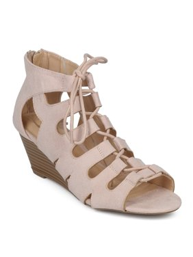 4742b6c55 Product Image Women Faux Suede Open Toe Lace Up Cut Out Low Wedge Sandal  HD67. Wild Diva