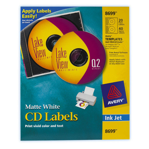 Avery 40 Count Matte CD and DVD Label in White (Set of 5)