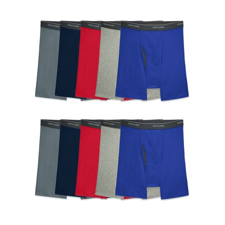 Fruit of the Loom Mens CoolZone Fly Assorted Boxer Briefs, Super Value 10 Pack