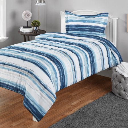 Mainstays Twin or Twin XL Watercolor Stripe Printed Comforter Mini Set, 2 Piece