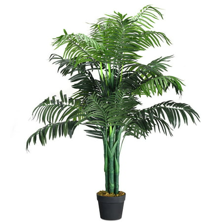 Gymax Artificial Areca Palm Decorative Silk Tree w/Basket 3.5 Feet Holiday Decor