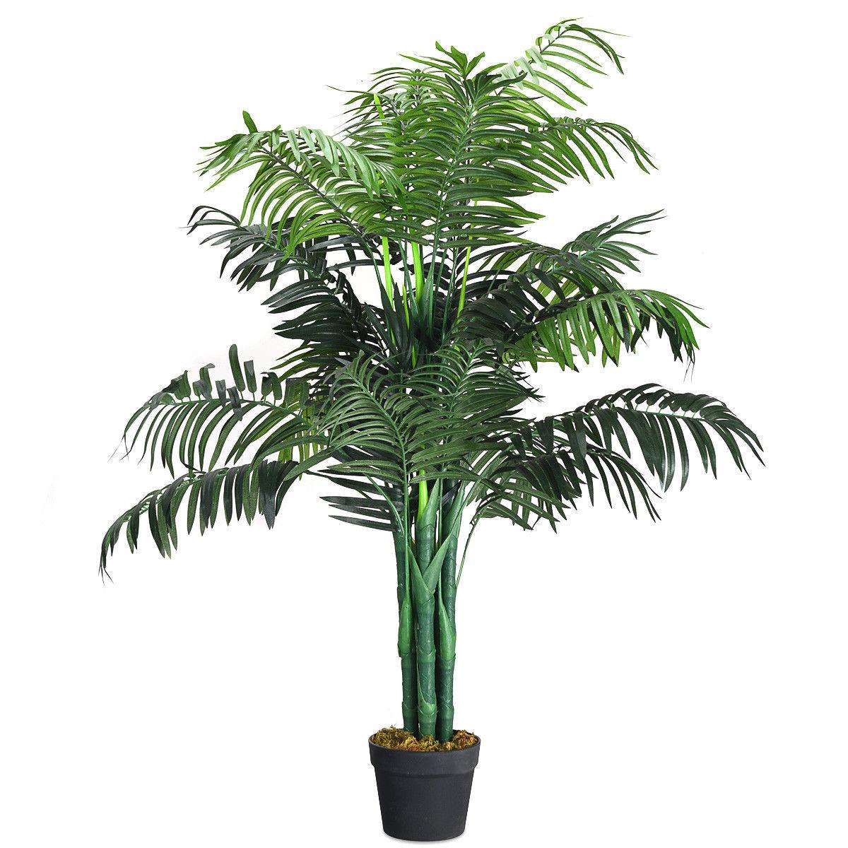 Gymax Artificial Areca Palm Decorative Silk Tree w/Basket 3.5 Feet Holiday Decor