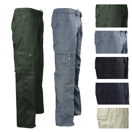 Hirigin MENS CASUAL ELASTICATED WAIST CARGO COMBAT TROUSERS PANTS WORK RUGBY BOTTOMS