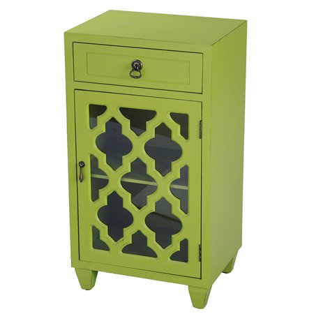Glass Door Insert - Citron Wood Clear Glass Accent Cabinet with a Drawer, a Door & Arabesque Inserts