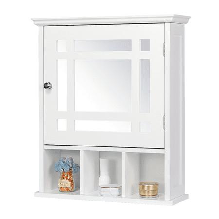 Bathroom Wall Mount Storage Cabinet With Single Mirror Door Adjustable Shelf ()