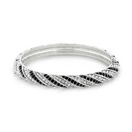 Black White Crystal Twist Bangle Bracelet For Women Prom Wedding Hinge Silver Plated Brass