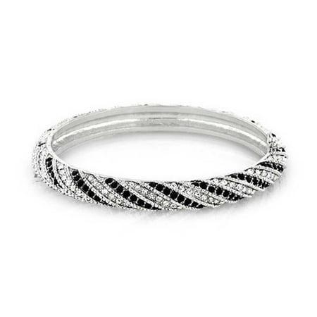 Black Crystal Bangle (Black White Crystal Twist Bangle Bracelet For Women Prom Wedding Hinge Silver Plated)