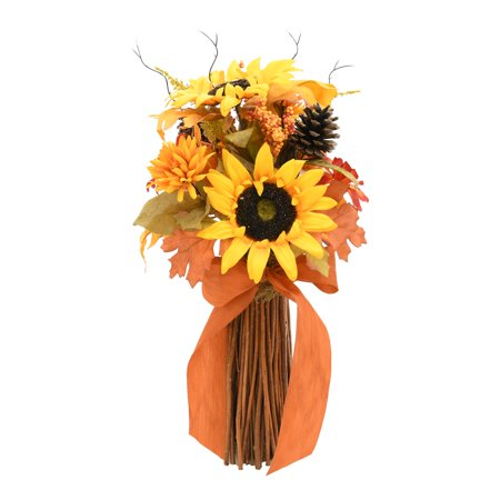 Way To Celebrate Thanksgiving Mix Bouquet Artificial Flower Fall Decoration, Yellow Sunflower and Pine Cone ()