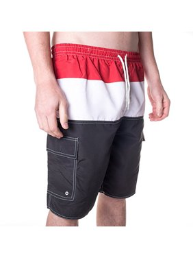 North 15 Men's Swim Trunks With Cargo Pokcets-5110-Rd-Blk-XL