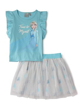 """Disney Frozen 2 Exclusive Elsa """"True To Myself"""" Flutter Sleeve Top and Tutu Skirt, 2-Piece Outfit Set"""