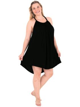HAPPY BAY Rayon Solid  Knee Skirt Slit Club Stretchy Beach Party Dress Swimwear