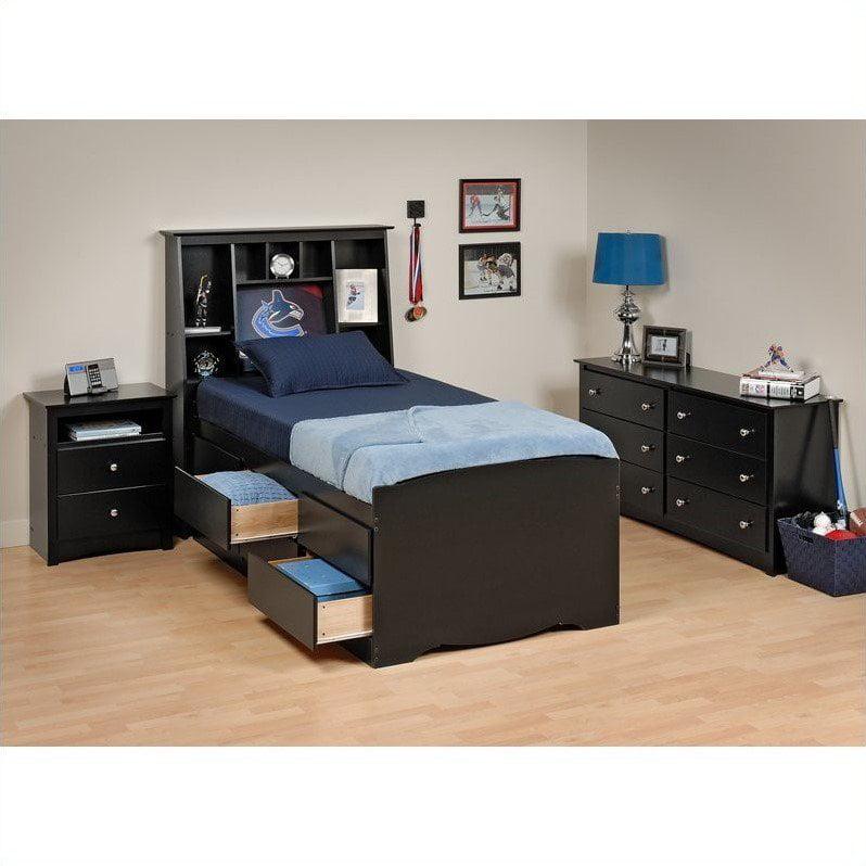 Prepac Sonoma Black Tall Twin Wood Platform Storage Bed 4 Piece