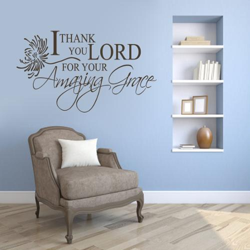 Sweetums I Thank You Lord, Amazing Grace' 60 x 36-inch Wall Decal