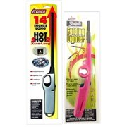 "2 Pack Combo - Hot Shot 2 Xtra Long and Scripto ""Refillable"" Folding Lighter (Random Color) Safe for Camping/grilling/home, Adjustable Flame,.., By calico"
