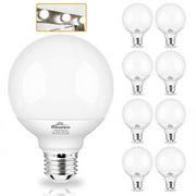 G25 Globe Light Bulbs, 8 Pack LED Vanity Light 5000K Daylight for Bathroom Vanity Makeup Mirror,Winshine LED Bedroom Lights E26 Medium Screw Base 5W 60W Equivalent,500LM, Non-dimmable