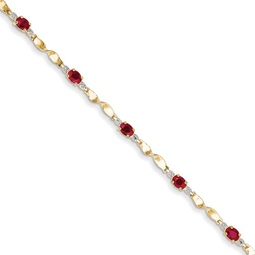 14k Yellow Gold Diamond and African Ruby Oval Bracelet. Gem Wt- 1.76ct