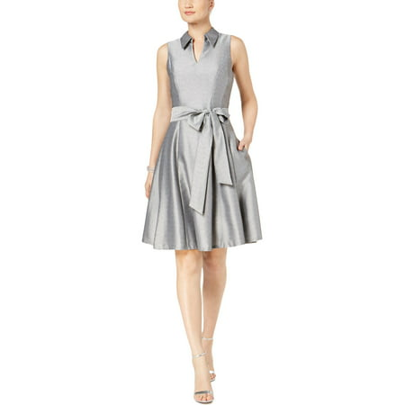 Signature By Robbie Bee Womens Petites Metallic Collared Party Dress
