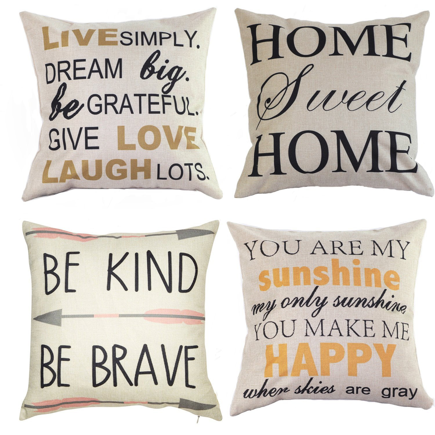 Coolmade Decorative Quote Words Pillow Case Cotton Linen Square Decorative Throw Pillow Covers Cushion Cover 18 X 18 Be Kind Be Brave Home Sweet Home Love In Simple Words Walmart Com Walmart Com