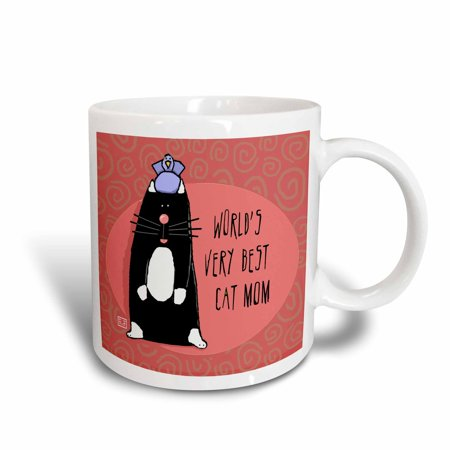 3dRose World s Best Cat Dad Cute Cartoon Kittens Pets Animals Father Family, Ceramic Mug, 15-ounce