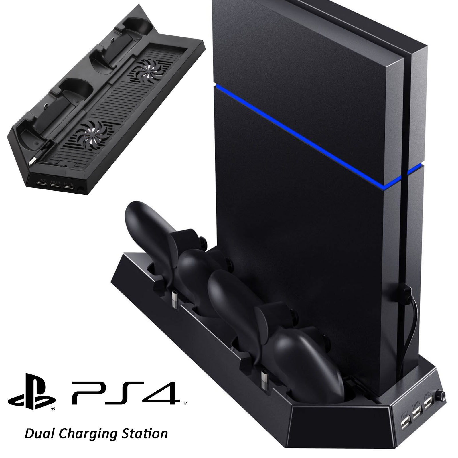 Vertical Stand with Cooling Fan for Sony PS4,2 Controllers Charging Dock 2 Fan Cooling Station with Dual Charger Ports and USB HUB, for PlayStation 4 Console Dualshock 4