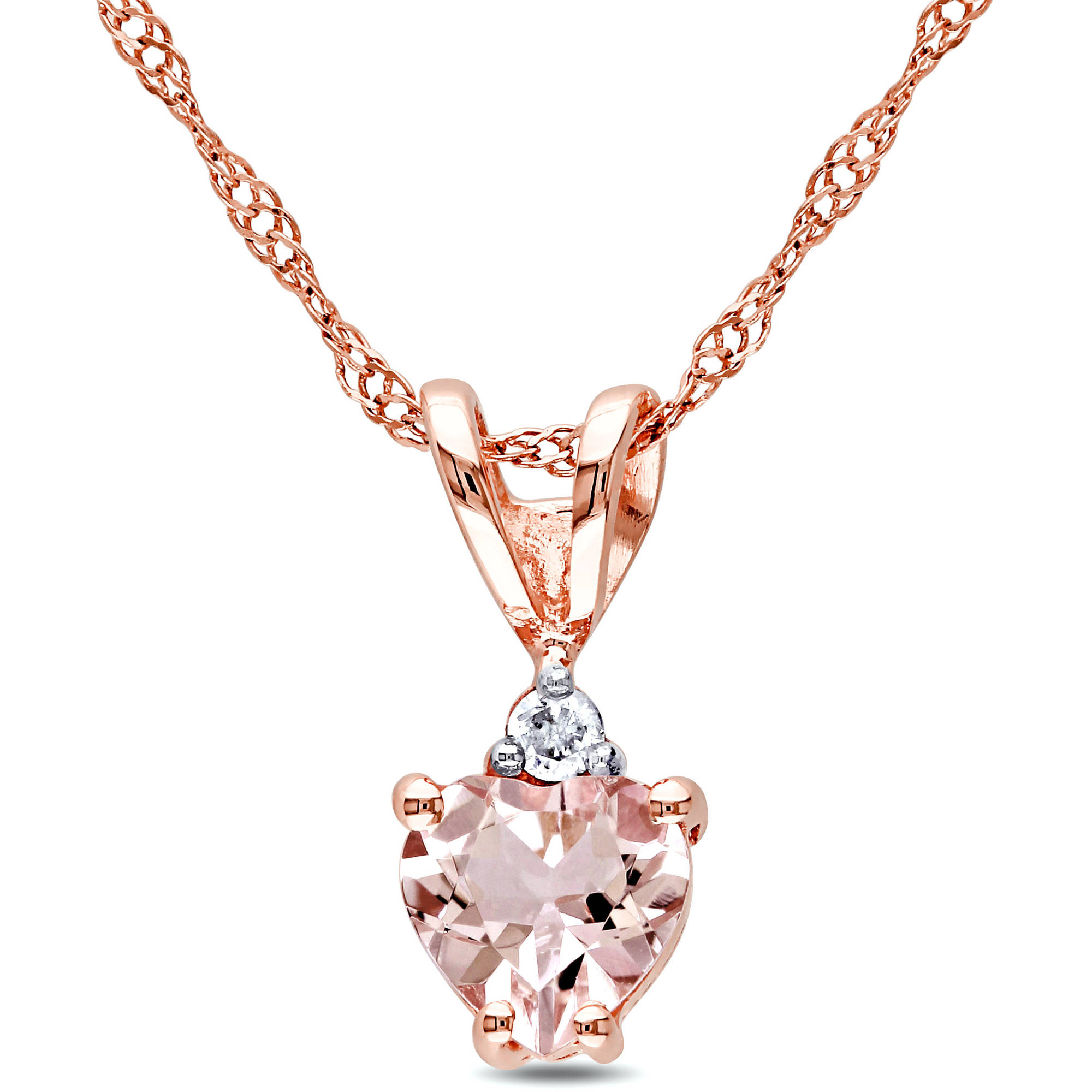 Tangelo 1/2 Carat T.G.W. Morganite and Diamond-Accent 10kt Rose Gold Heart Pendant, 17""