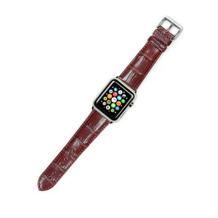 - Apple Watch Strap - Genuine Alligator Watch Band - Havana - Fits 42mm Series 1 & 2 Apple Watch [Silver Adapters]