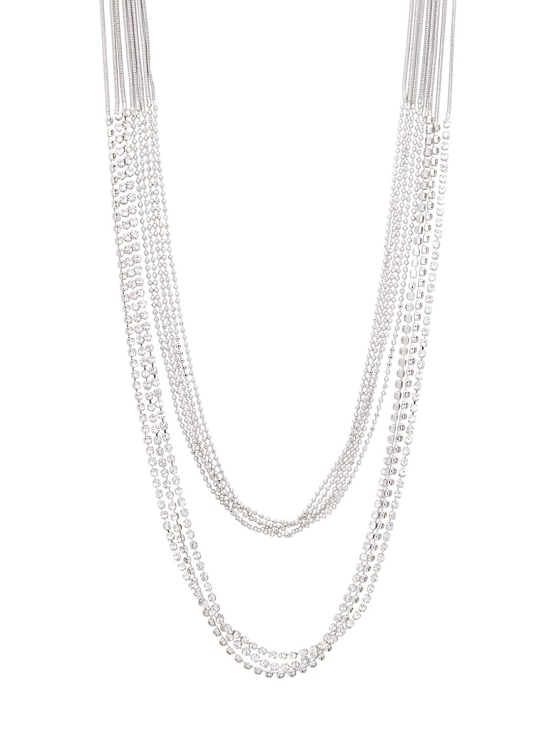Silverplated and Rhinestone Multi-Strand Necklace