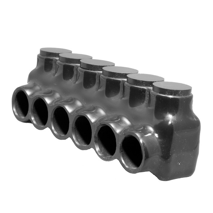 Black Insulated Multi-Cable Connector - Single Entry 6 Ports 250 - 6