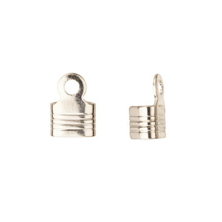 10mm Platinum-Finished Line Textured Square Fold-Over Cord End Fit Up To 5mm Cord pack of (10mm Cord)