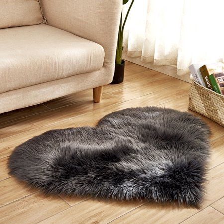 Soft Artificial Plush Rug Chair Cover Warm Hairy Carpet Seat Pad Modern Style Home Decoration Dark gray