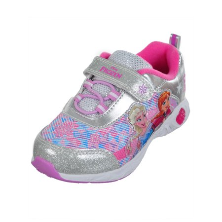 Disney Frozen Girls' Light-Up Sneakers Featuring Anna & Elsa (Sizes 6 - 12)