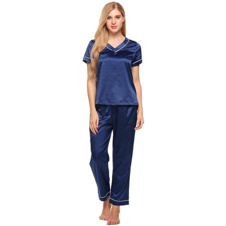 dc6e030061 Lowest price ever!Women Satin Pajamas Set V-Neck Short Sleeve Top and Long  Pants Lounge Sleepwear cbst - Walmart.com