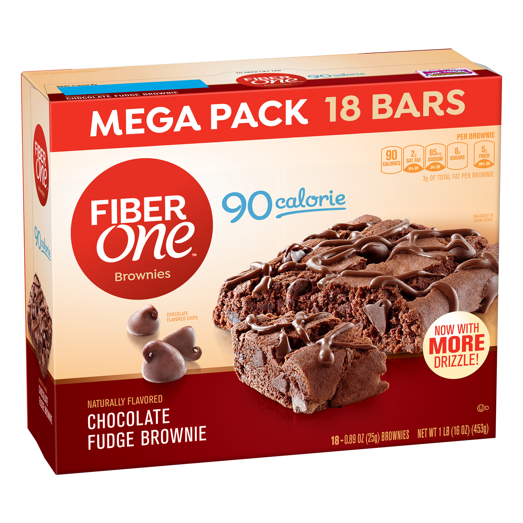 Fiber One Brownies, 90 Calorie Bar, Chocolate Fudge Brownie, 18 Fiber Bars Mega Pack, 16 oz