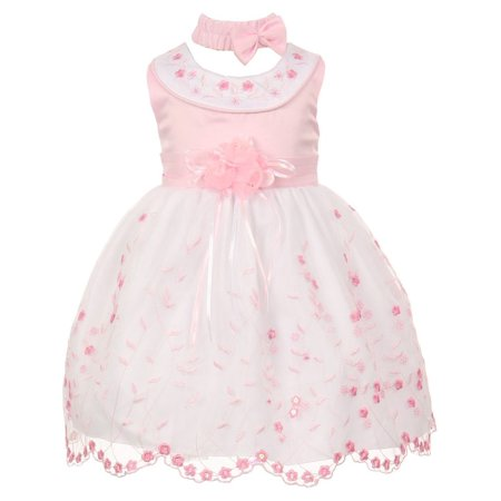 Multi Color Jeweled Flower - Little Girls Pink White Floral Jeweled Flower Girl Bubble Dress 2T