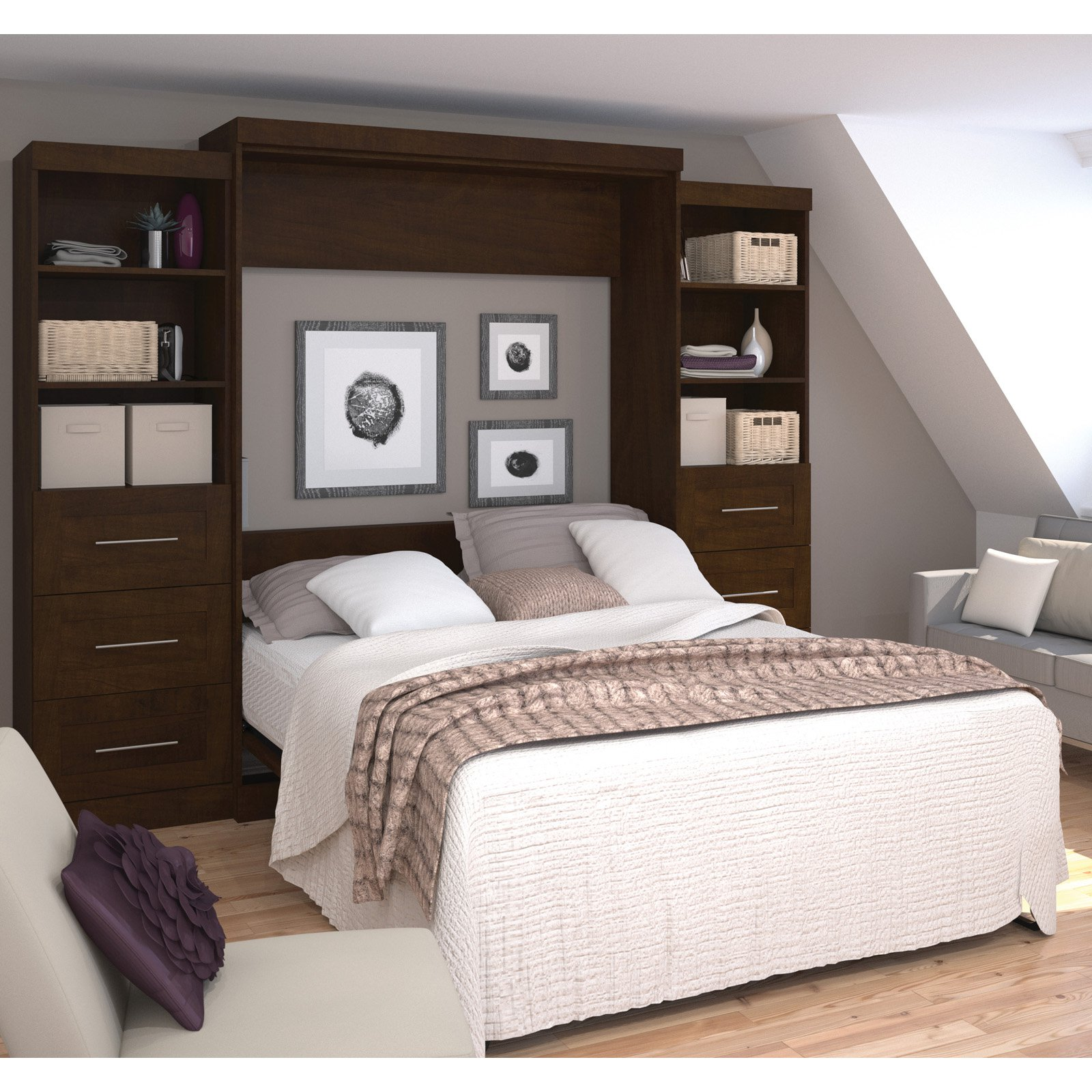 "Pur by Bestar 115"" Queen Wall bed kit in Chocolate"