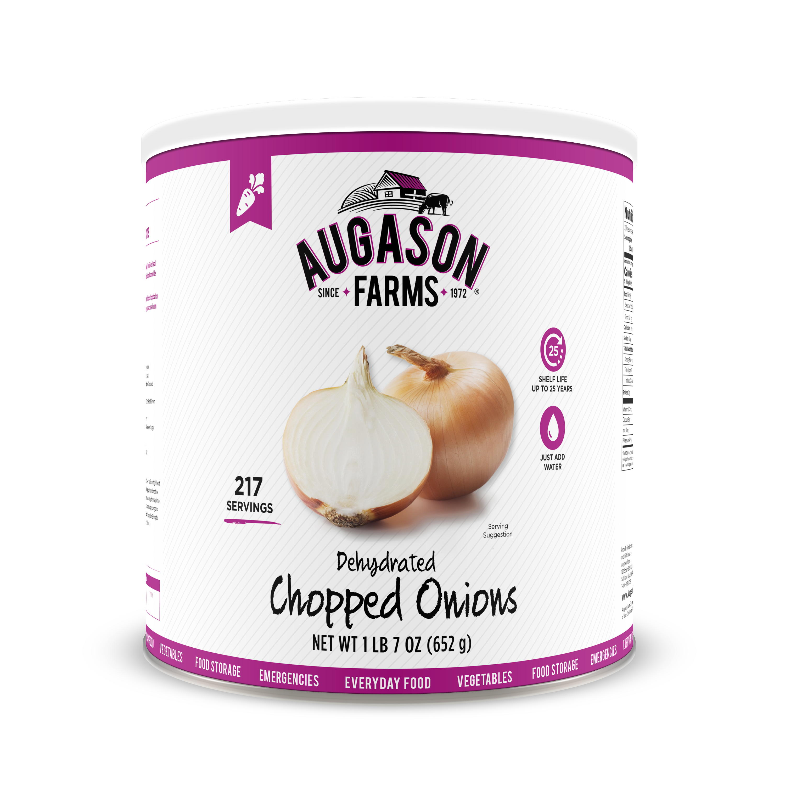 Click here to buy Augason Farms Dehydrated Chopped Onions 1 lb 7 oz No. 10 Can by Blue Chip Group.