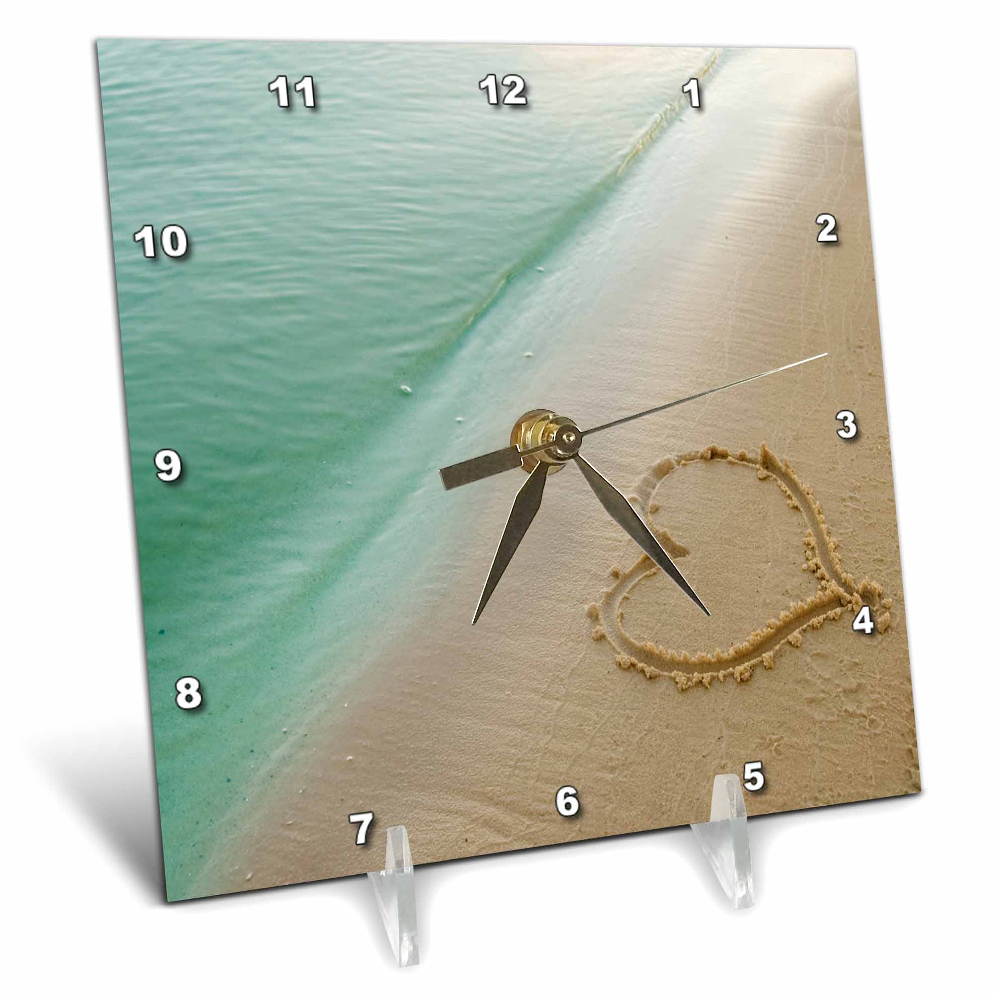 3dRose Heart Shape Symbolizing Love, Heart Carved in Sand on the Beach, Desk Clock, 6 by 6-inch by 3dRose