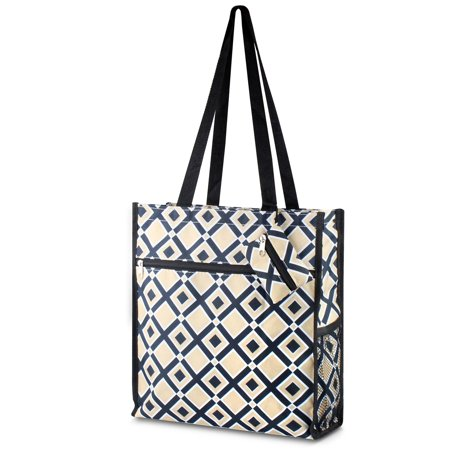 All Purpose Utility Bag - Lightweight All Purpose Travel Bag by Zodaca Laundry Shopping Zipper Utility Shoulder Tote Carry Bag - Khaki/Black Times Square