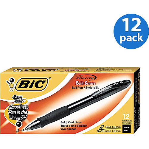 BIC 12pk Velocity Ballpoint Retractable Pen, Black