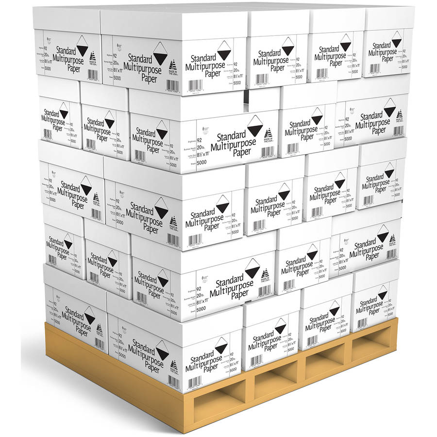 "Standard Multipurpose Paper, 8.5"" x 11"", 20 lb, 92 Bright, White, 5000 Sheets per Carton, 40 Cartons per Pallet"