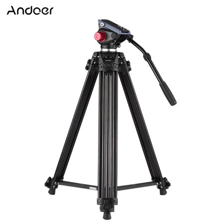 Andoer Professional Aluminum alloy Panorama Tripod Fluid Hydraulic Head Ballhead for Canon Nikon Sony DSLR Camera & Video Recorder DV Max Height 72 Inches Max Load 8KG with Carrying (Best Nikon Camera For The Money)