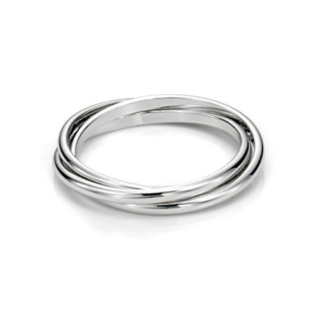 Sz 7.0 Sterling Silver Triple Interlocked Rolling High Polish Plain Dome Tarnish Resistant Wedding Band Ring