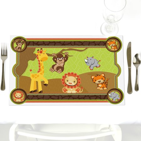Funfari- Party Table Decorations - Safari Baby Shower or Birthday Party Placemats - Set of 12 for $<!---->