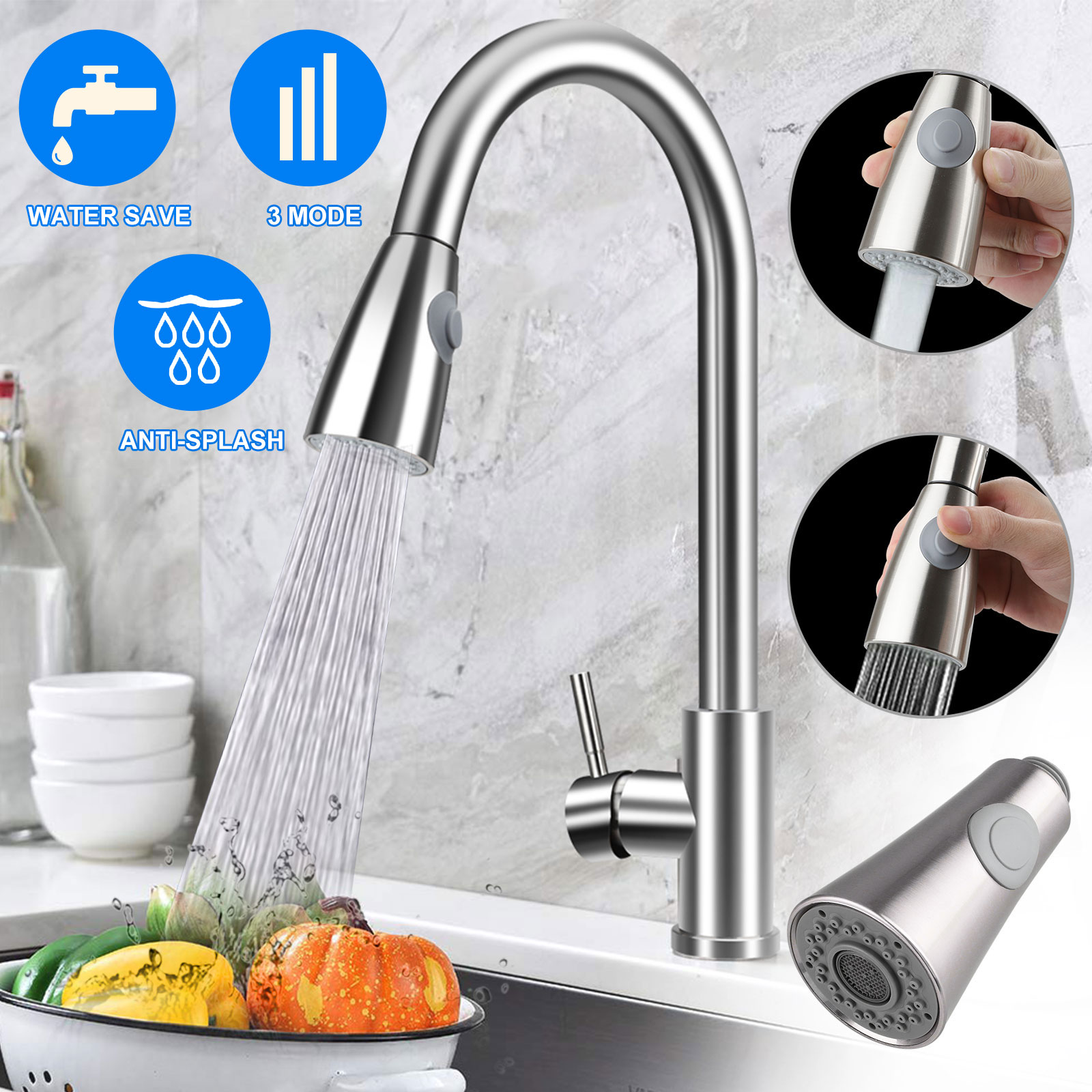 Kitchen Replacement Faucet Spray Plastic Spout Head Taps Brushed Nickel