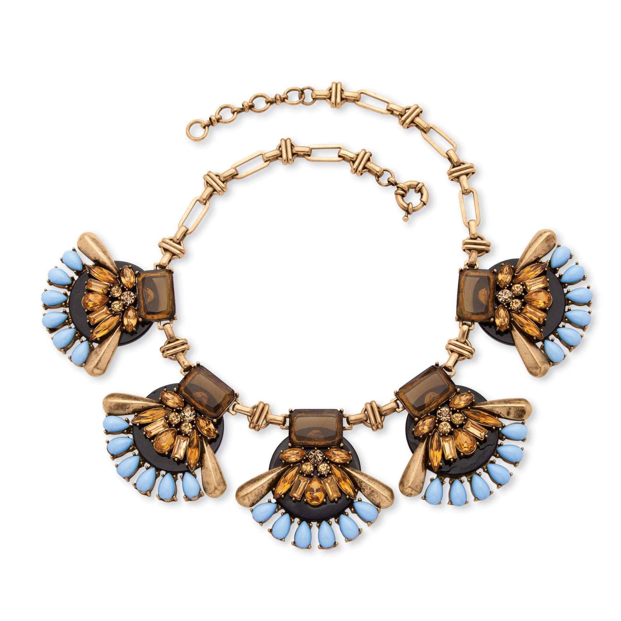 Brown and Blue Crystal Lucite Open Fan Necklace with Vintage-Style Chain in Antique Gold Tone