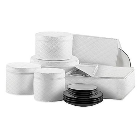 Quilted 6-Piece Dinnerware and Serveware China Storage Protector Set in White By Salt