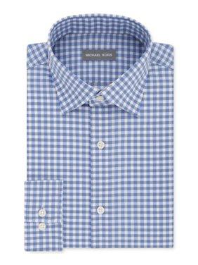 Michael Kors Blue Mens Size 14 1/2 Regular Fit Gingham Dress Shirt