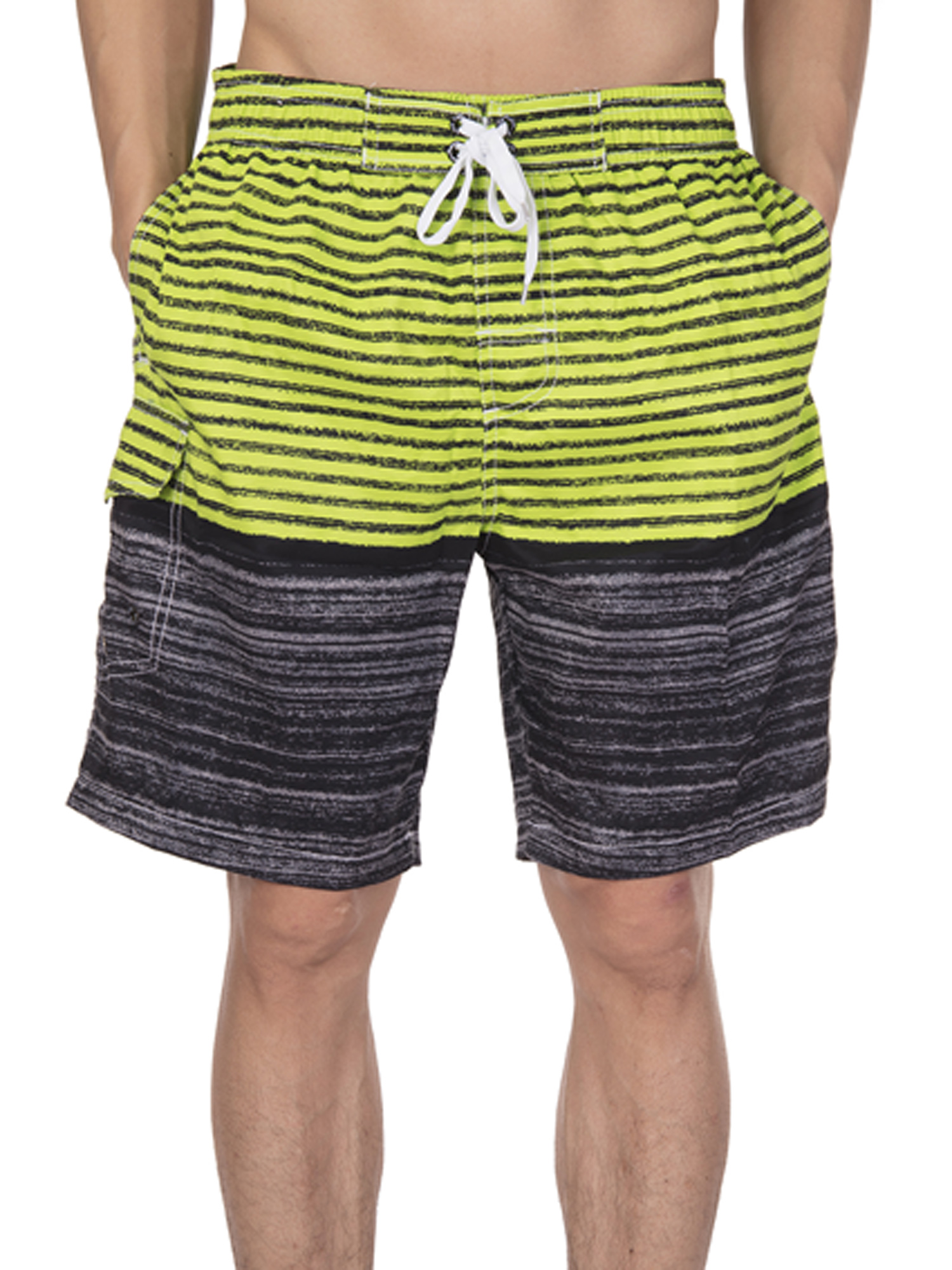 Awesome Close Mens Beach Shorts Swim Trunks Stripe Quick Dry Casual Polyester Swim Shorts