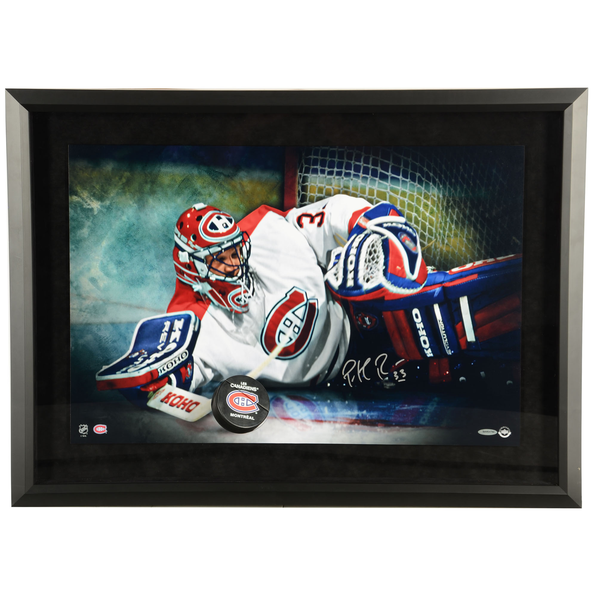 "Patrick Roy Montreal Canadiens Framed Autographed 16"" x 20"" Save Breakthrough Photograph - Upper Deck - No Size"