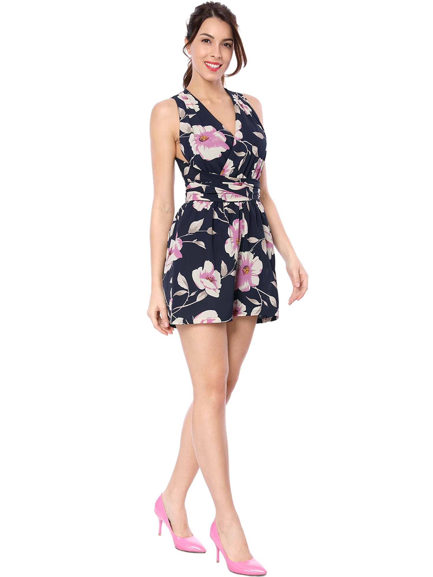62d0cefcb43b Unique Bargains Women s Floral Print Crossover V-Neck Self-Tie Strap Romper  (Size XL   18)